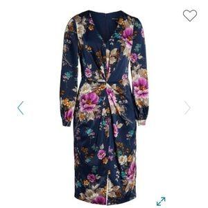 Maggy London Navy Charmeuse Drape Dress
